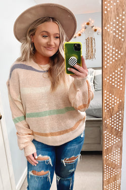 S / Pink Almeria Soft Knit Striped Sweater - Madison and Mallory
