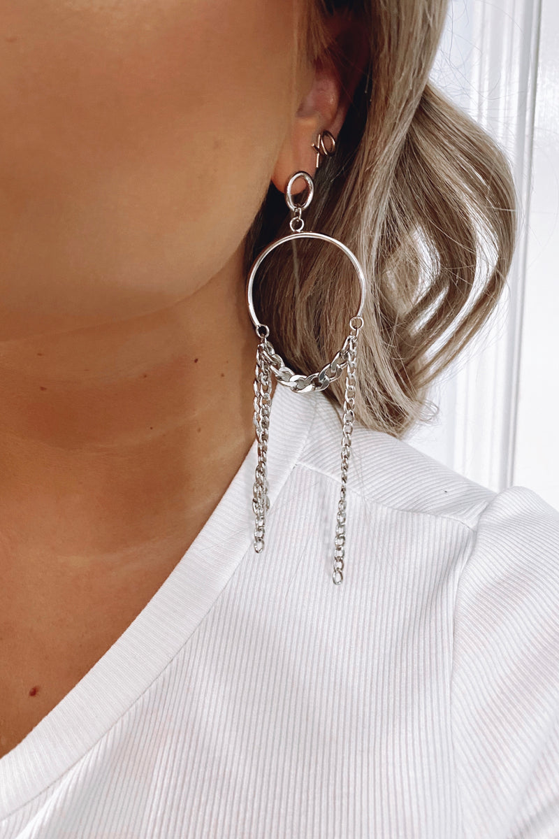 Silver Call the Shots Chain Drop Earrings - Madison and Mallory