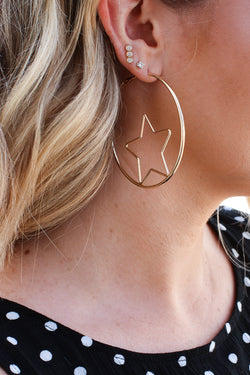 Gold Gonna be a Star Hoop Earrings - Madison + Mallory