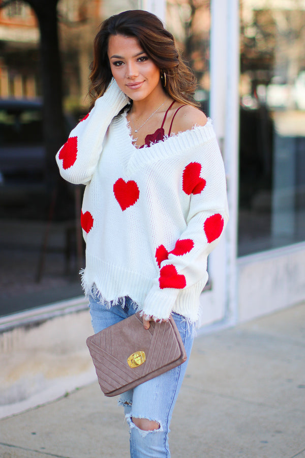 S / White Hopeful Heart Frayed Knit Sweater - Madison + Mallory