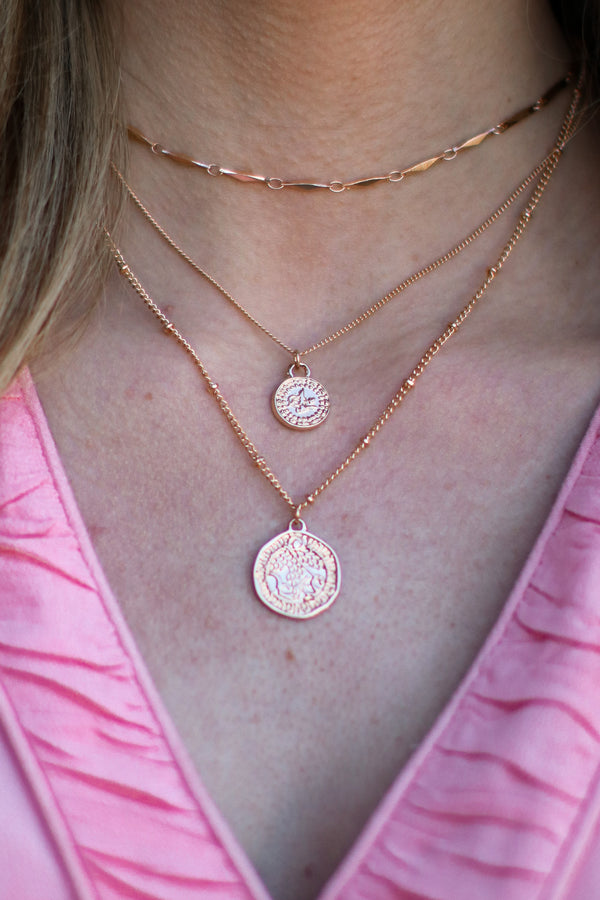 Gold Lettie Coin Layered Necklace - Madison and Mallory