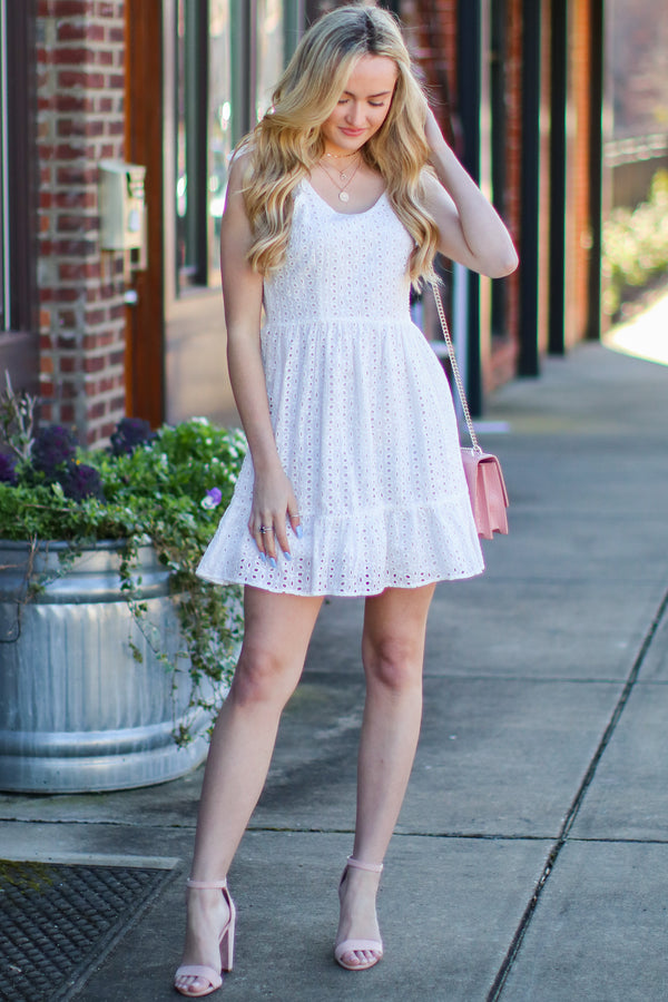S / Off White Adella Eyelet Ruffle Dress - Madison and Mallory