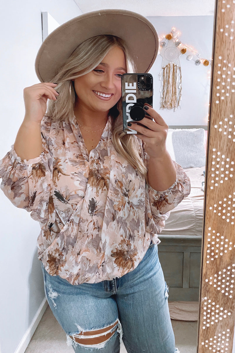 S / Peach Sweet Sensation Floral Crossover Surplice Top - FINAL SALE - Madison and Mallory