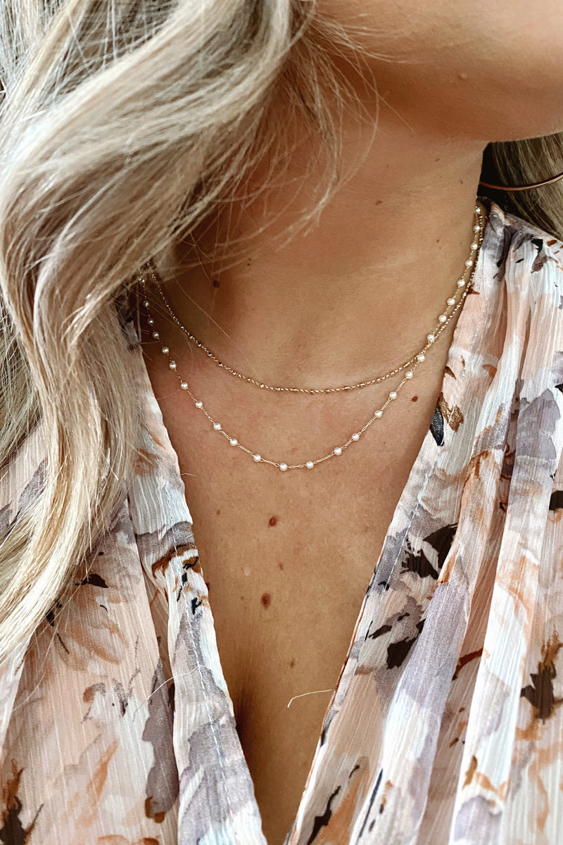 Cream/Gold Isodora Dainty Pearl Layered Necklace - Madison and Mallory