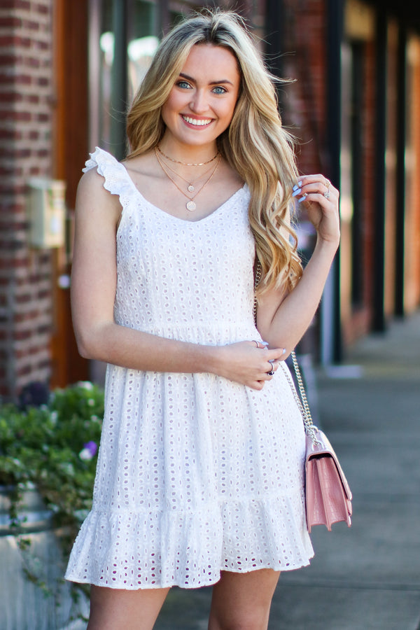 Adella Eyelet Ruffle Dress - Madison and Mallory