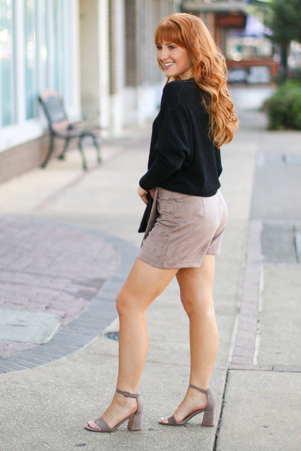 You'll Remember Button Down Skort - Mushroom - FINAL SALE - Madison + Mallory