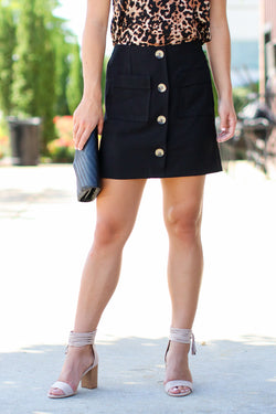 Black / S Laylah Button Down Skirt - Black - FINAL SALE - Madison and Mallory