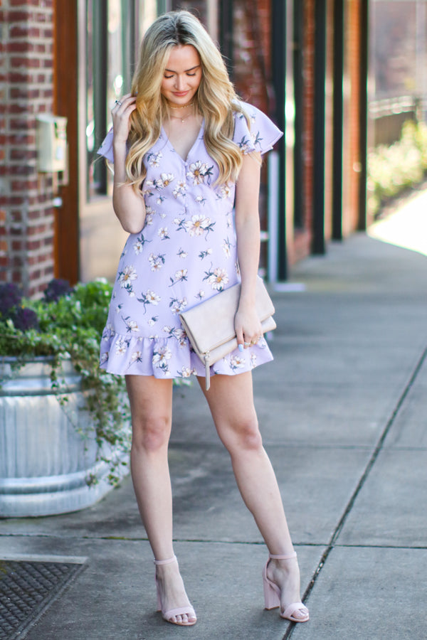 S / Lavender Daylight Floral Ruffle Dress - Madison and Mallory