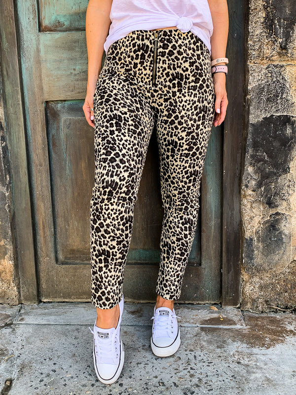 S / Leopard Call You Back Leopard Skinny Jeans - Madison + Mallory
