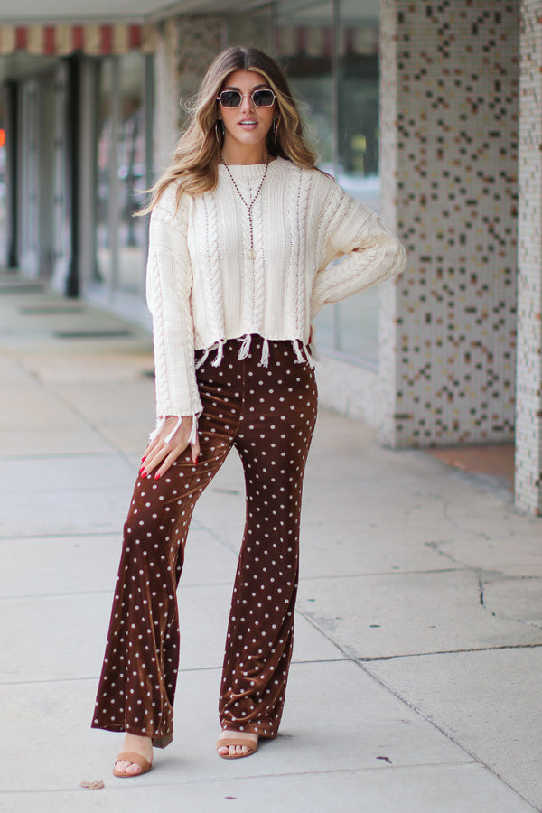 Foxy Polka Dot Velour Pants - Madison + Mallory