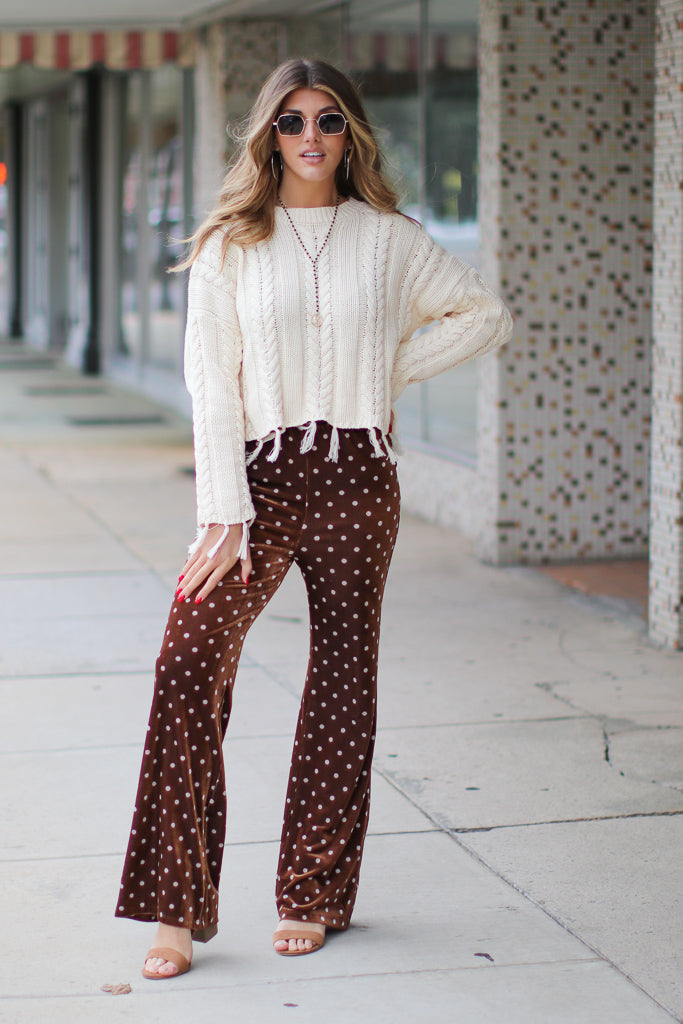 Foxy Polka Dot Velour Pants - FINAL SALE - Madison and Mallory
