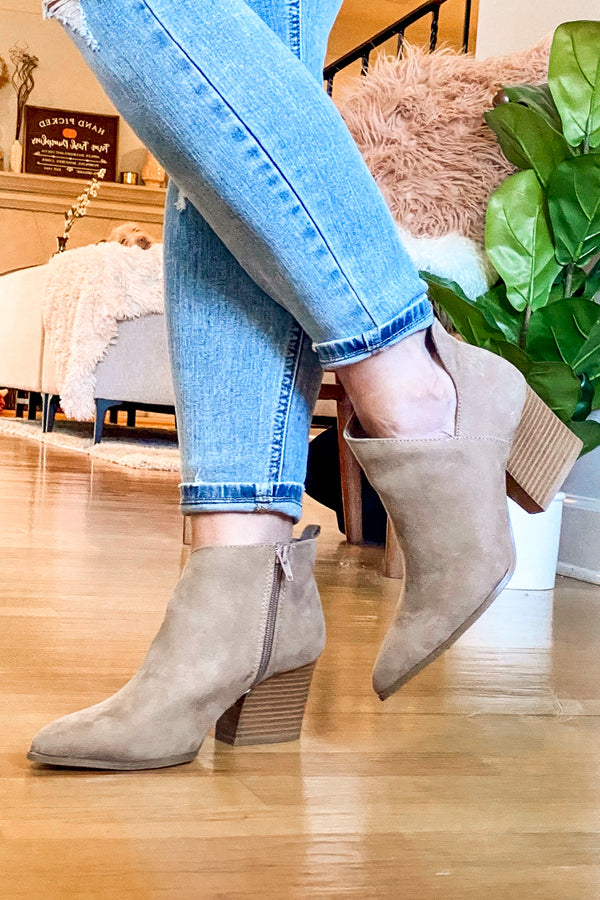 5.5 / Taupe Second Glances Cutout Booties - Madison and Mallory