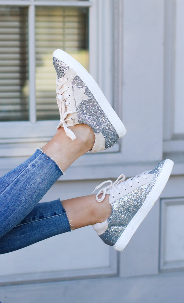 Silver Glitter / 6 Polaris Star Sneakers - Silver Glitter - Madison + Mallory