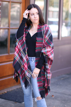 OS / Black Cuddling Up Plaid Pocket Poncho Cardigan | Doorbuster - Madison and Mallory