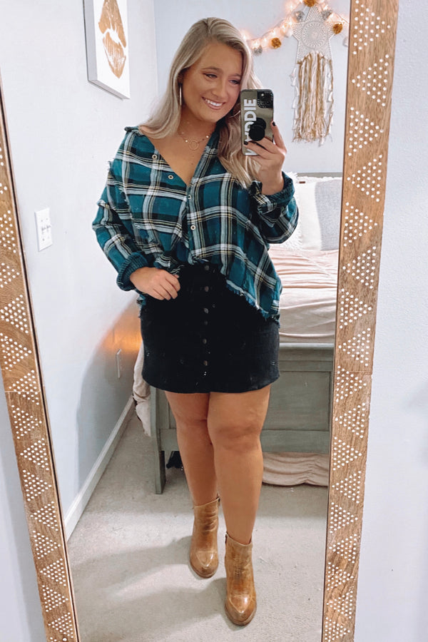 Green / S Jaylyn Frayed Plaid Top - Madison and Mallory