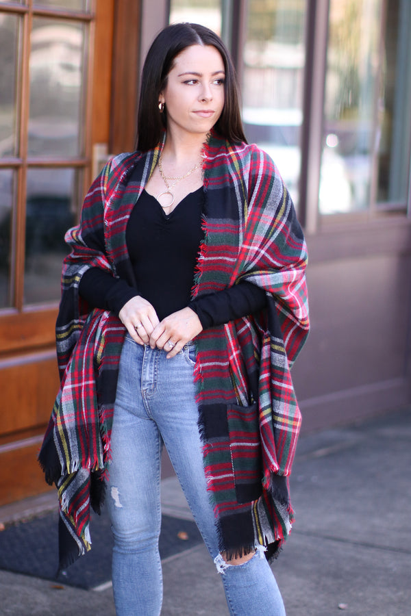 Cuddling Up Plaid Pocket Poncho Cardigan | Doorbuster - Madison and Mallory