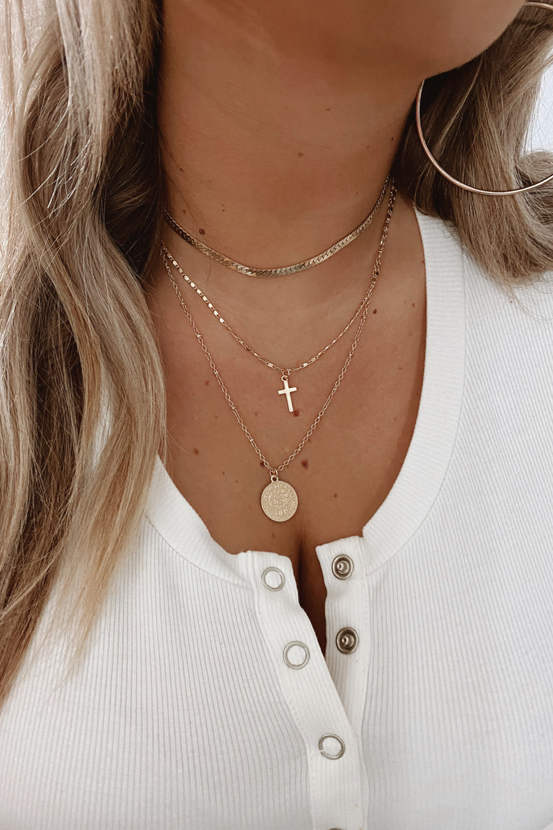 Gold Narissara Coin and Cross Layered Necklace - Madison and Mallory