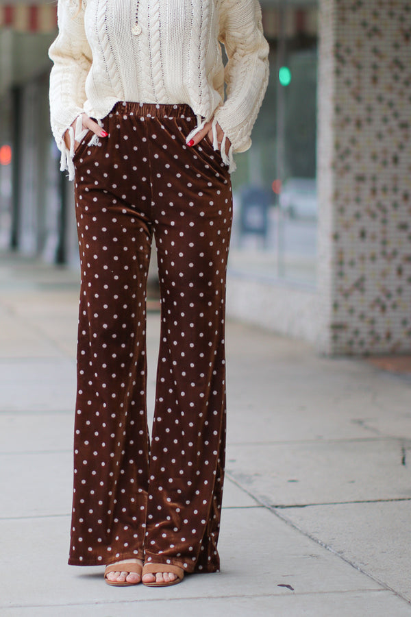 S / Camel Foxy Polka Dot Velour Pants - Madison + Mallory