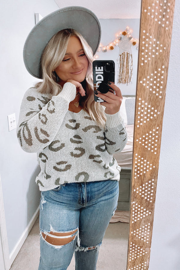 SM / Beige/Olive Discovery Animal Print Sweater - Madison and Mallory