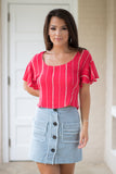 S / Red/Taupe Short Sleeve Striped Top - Madison + Mallory