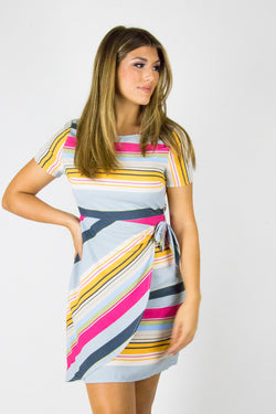 S / Multi Wrapped Up Stripe Dress - Madison + Mallory