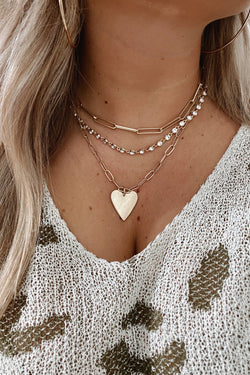 Gold Chain of Love Layered Heart Necklace - Madison and Mallory