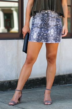 S / Gray Nagini Snake Print Skirt - FINAL SALE - Madison and Mallory