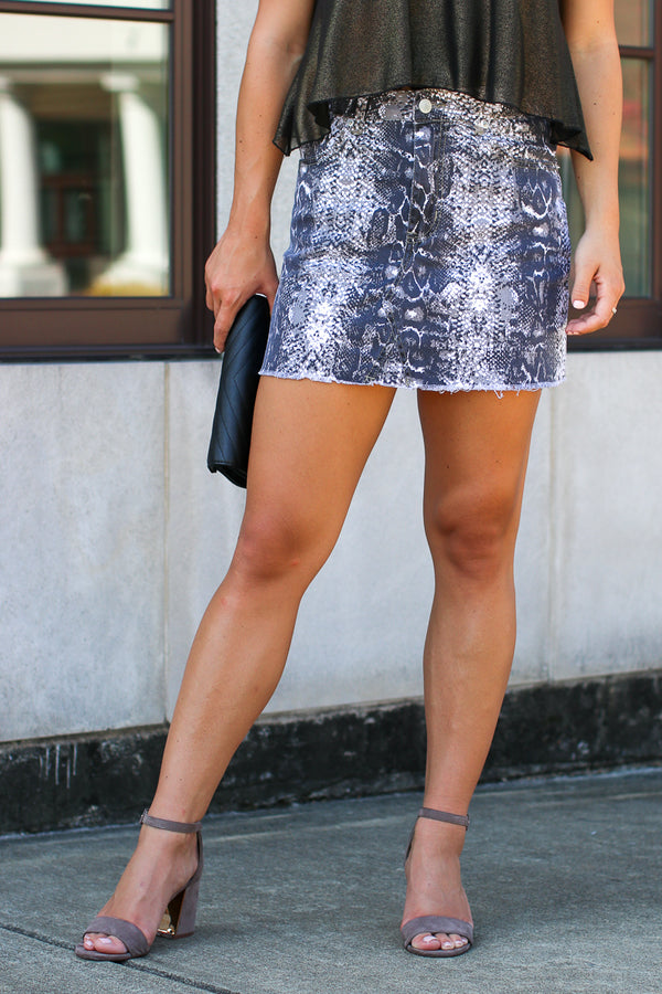 S / Gray Nagini Snake Print Skirt - Madison + Mallory
