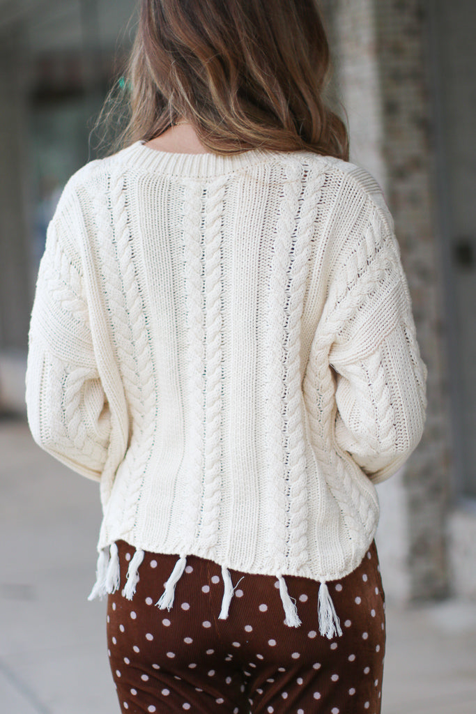 Zarina Frayed Cable Knit Sweater - FINAL SALE - Madison + Mallory