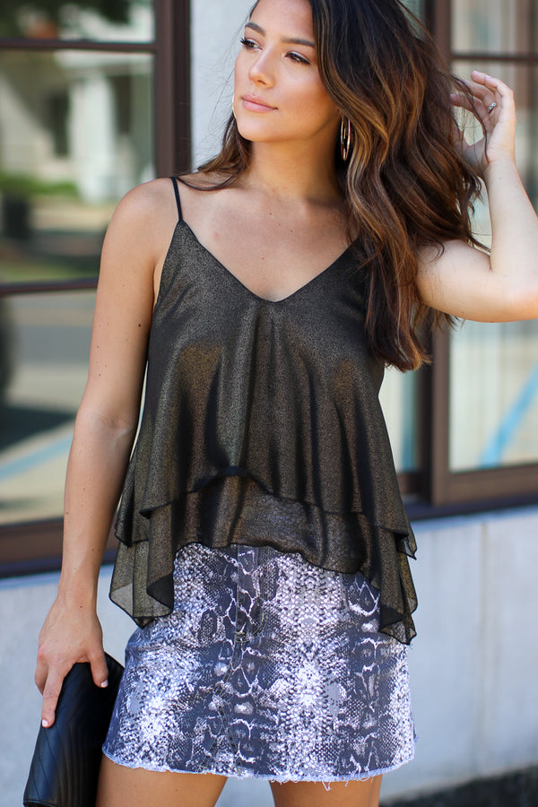 S / Black Leydy Shimmer Layered Top - Madison + Mallory