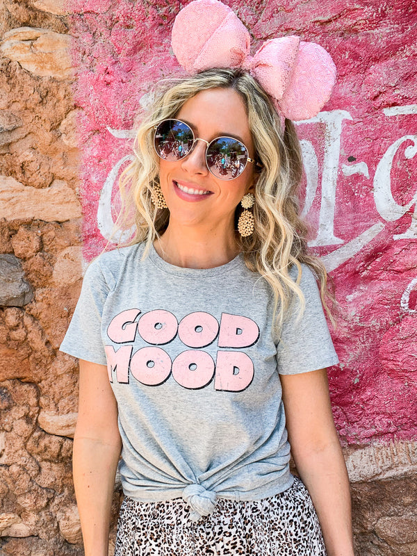 S / Gray Good Mood Graphic Top - Madison + Mallory