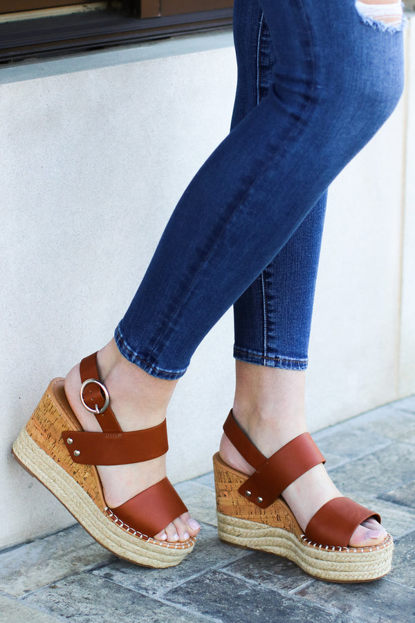 5.5 / Tan The Right Moves Espadrille Wedges - Tan - Madison and Mallory