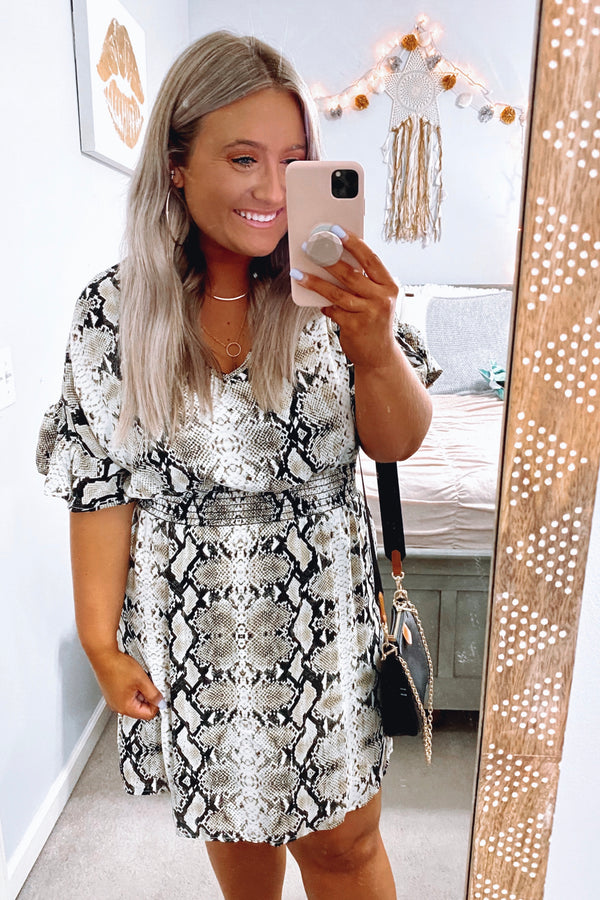 S / Multi Will to Chill Printed Snake Dress - Madison and Mallory