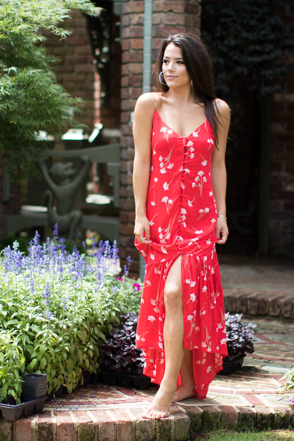 S / Red Floral Floral Button Up Dress - Madison + Mallory