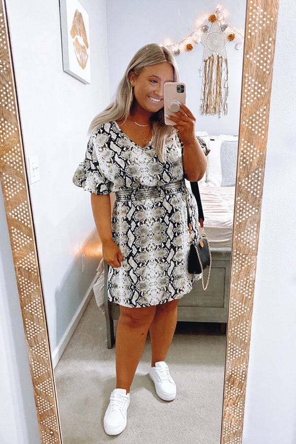 Will to Chill Printed Snake Dress - Madison and Mallory