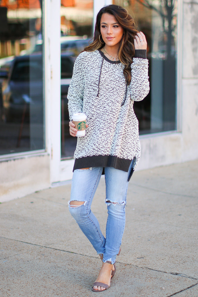 Prone to Cozy Hooded Knit Pullover - FINAL SALE - Madison + Mallory