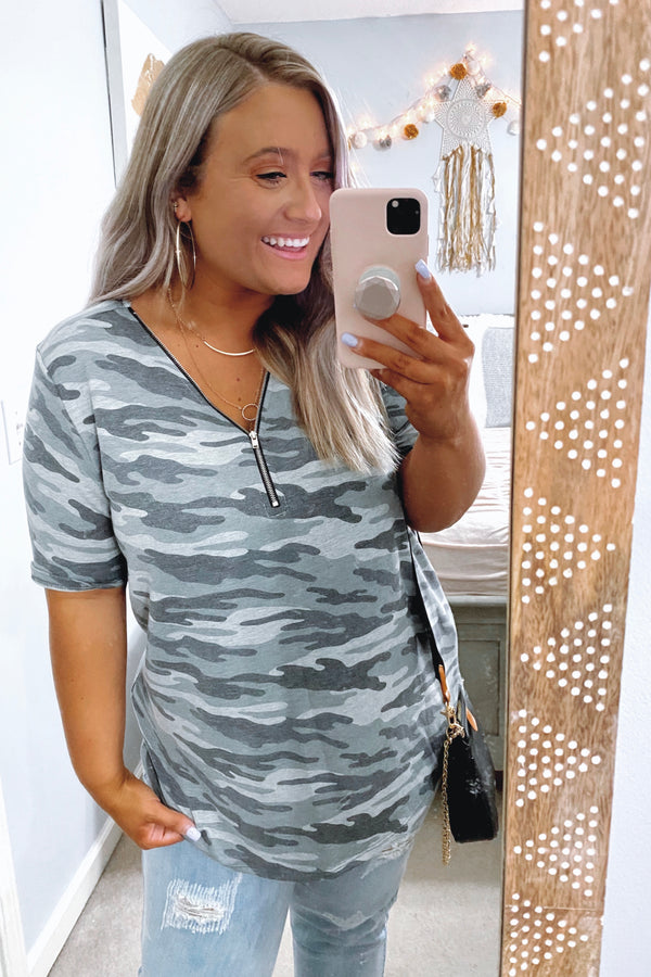 Zip It Camo Print Top - Madison and Mallory