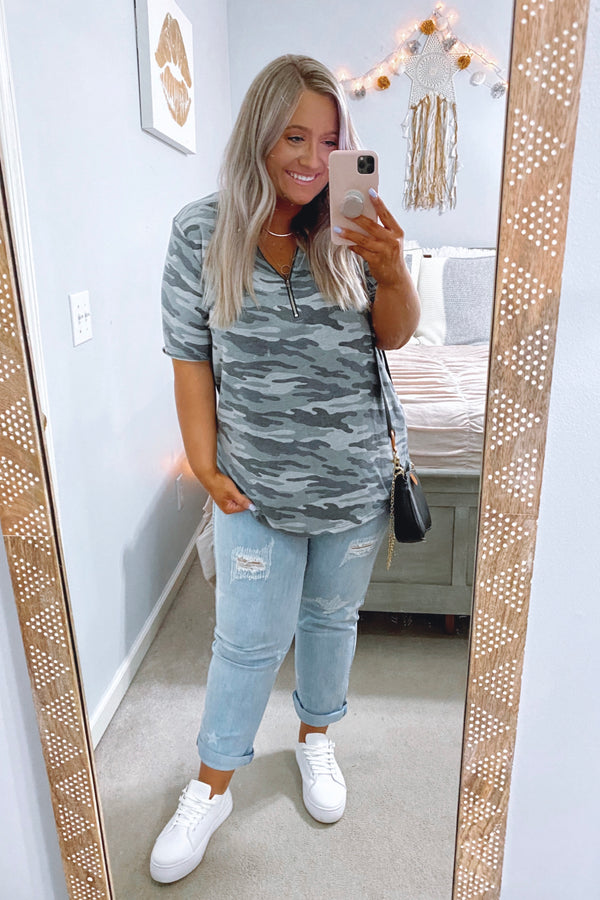 S / Chacoal Zip It Camo Print Top - Madison and Mallory