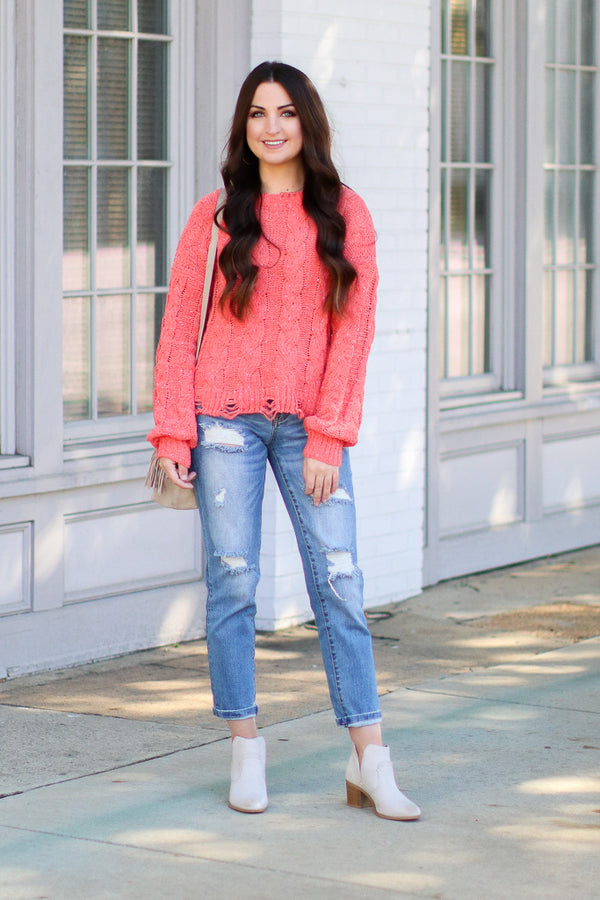 Winfrey Cable Knit Distressed Sweater - Coral - Madison + Mallory