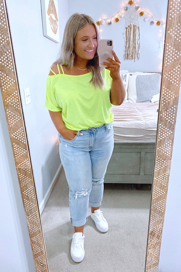 S / Neon Green Impulse Strappy Shoulder Detail Top - Madison and Mallory