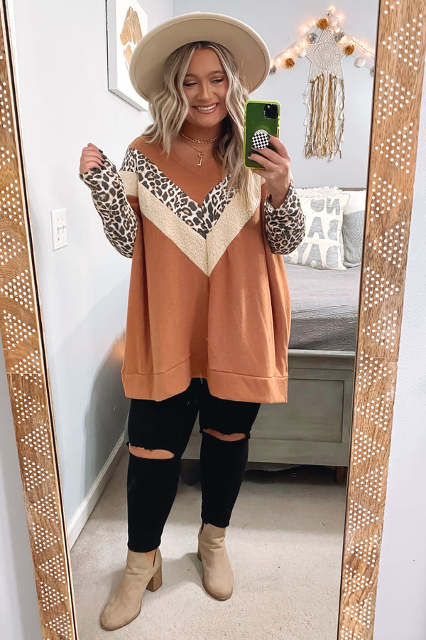 Danyelle Animal Contrast Chevron Top - Madison and Mallory