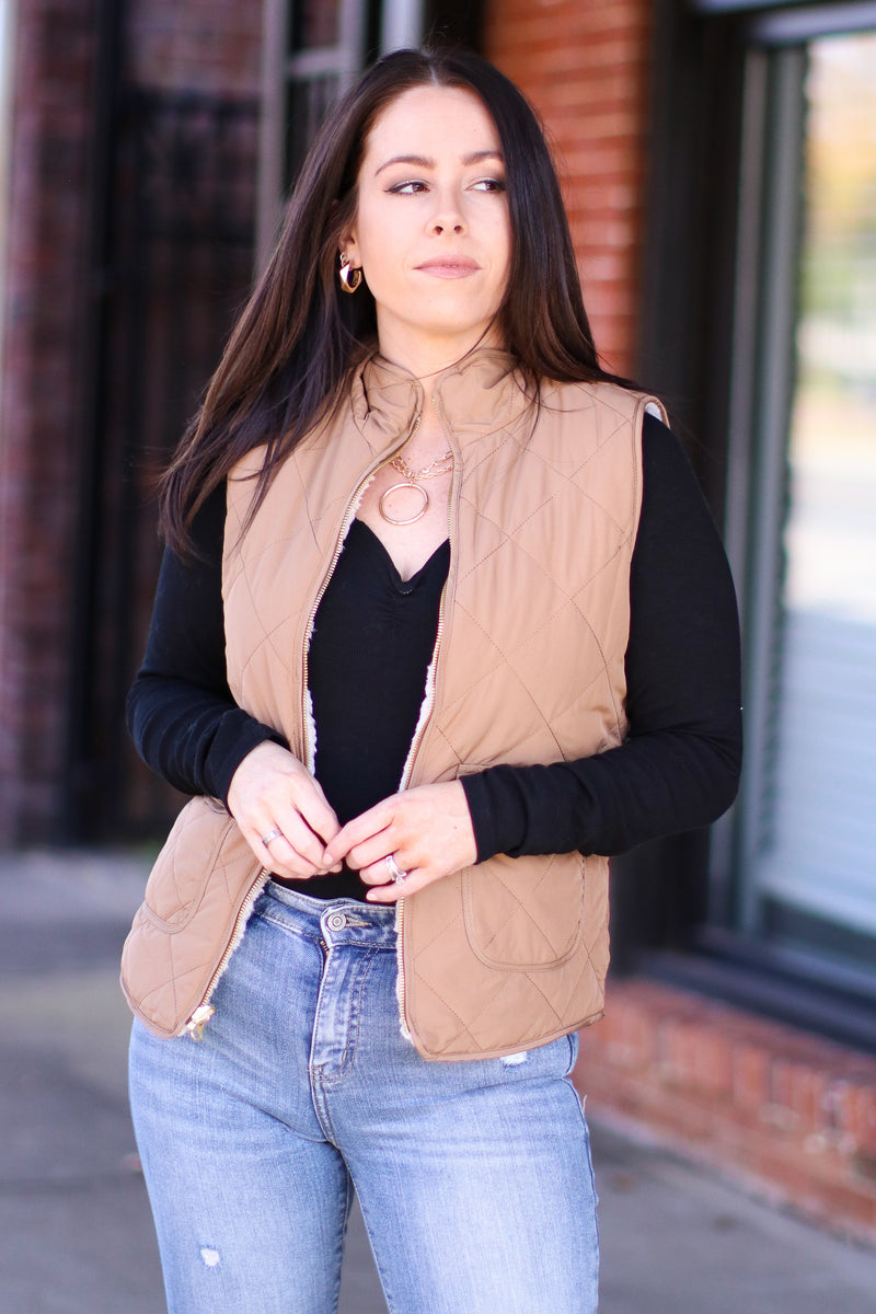 Camel / S Norridge Reversible Sherpa Quilted Vest | Doorbuster - Madison and Mallory
