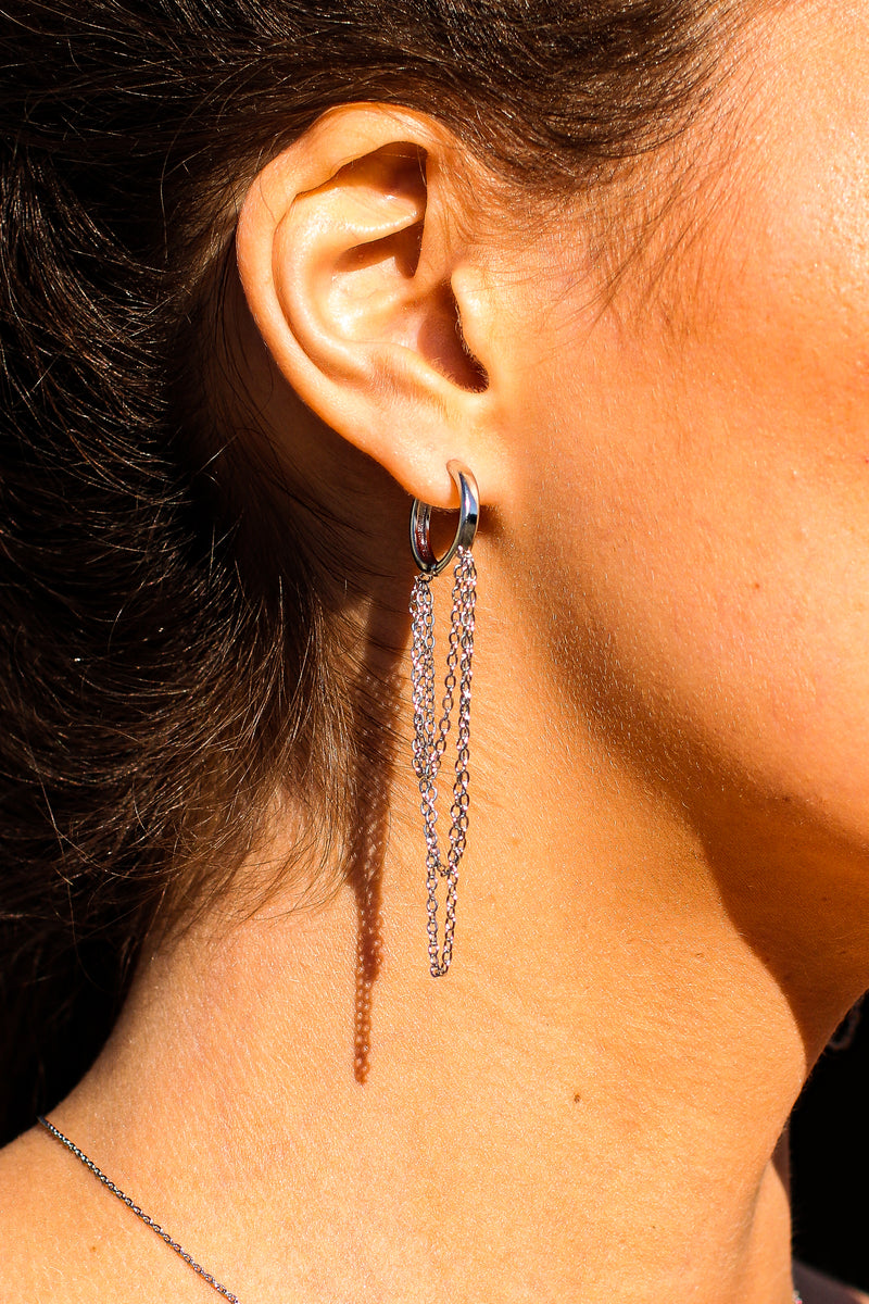 Silver Wise Idea Chain Drop Huggie Hoop Earrings - Madison and Mallory