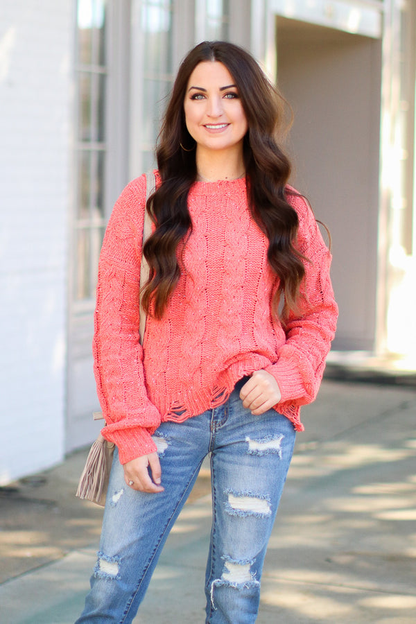 Coral / SM Winfrey Cable Knit Distressed Sweater - Coral - Madison + Mallory