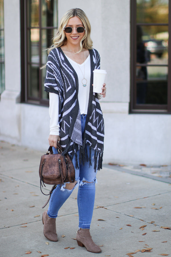 SM / Charcoal Carrington Fringe Patterned Cardigan - Madison + Mallory