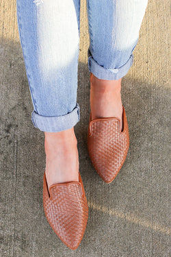 6 / Tan Relatable Love Woven Slip On Mules - Madison + Mallory