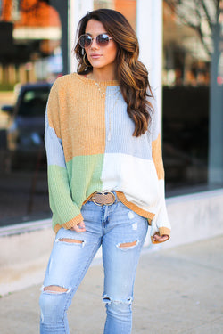 S / Gray Carolyn Color Block Sweater - Madison + Mallory