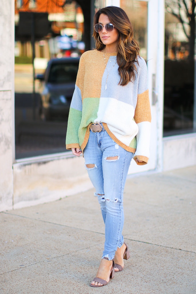 Carolyn Color Block Sweater - Madison + Mallory