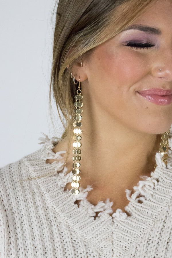 OS / Gold Sequin Coin Dangle Earrings - Madison + Mallory