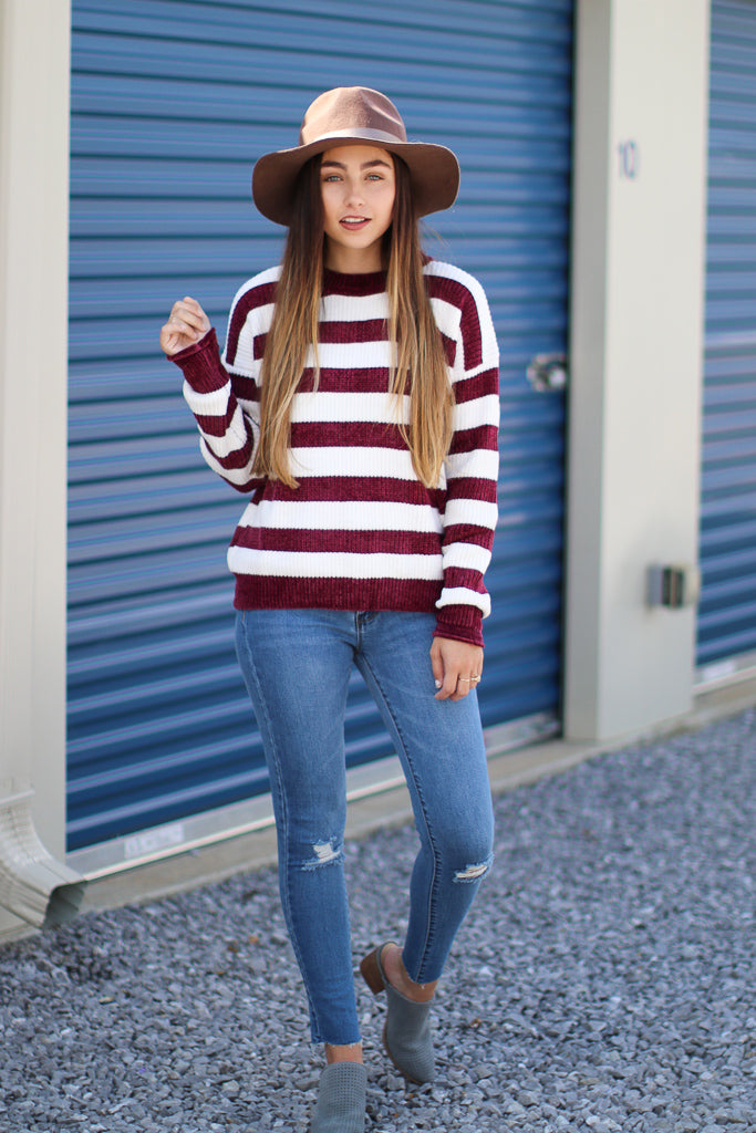 Amaya Striped Chenille Sweater - Madison + Mallory
